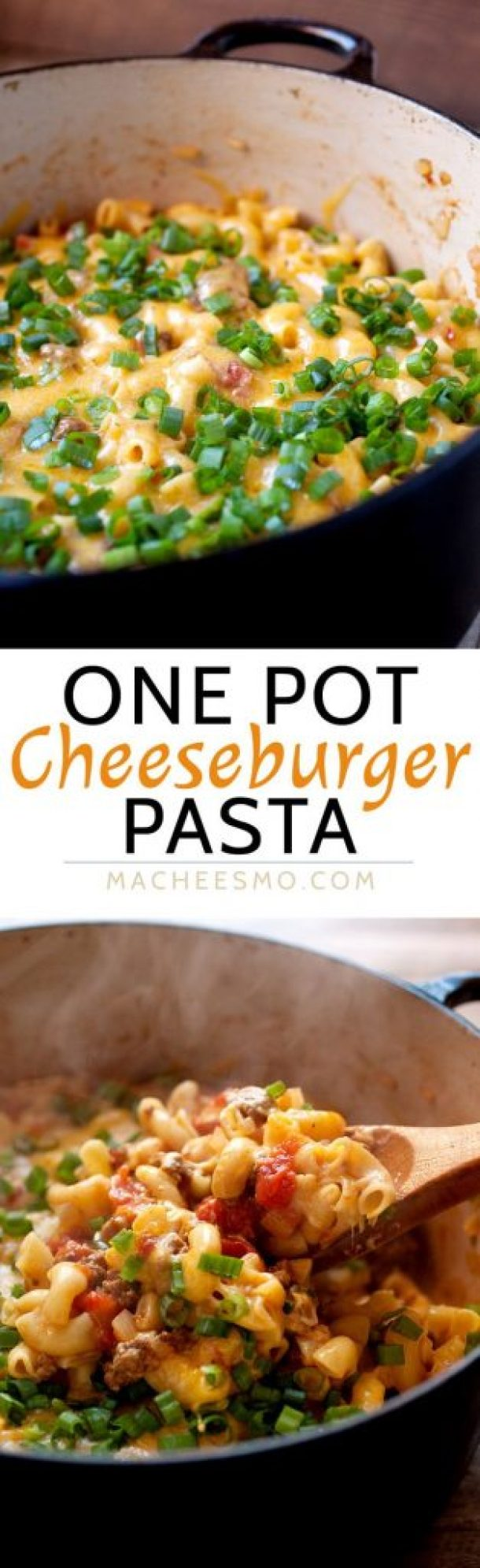 One Pot Cheeseburger Pasta {with a cheese lid!} Recipe | Macheesmo