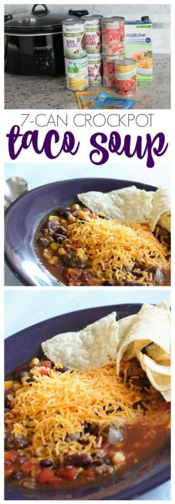 EASY 7-Can Crockpot Taco Soup Recipe | Passion for Savings