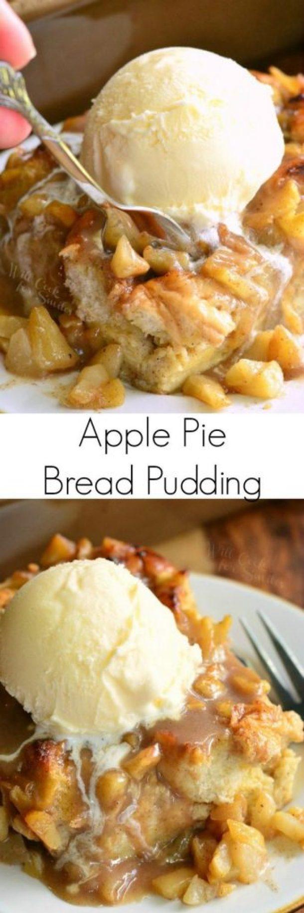 Apple Pie Bread Pudding Dessert Recipe | Will Cook For Smiles - Apple Recipes
