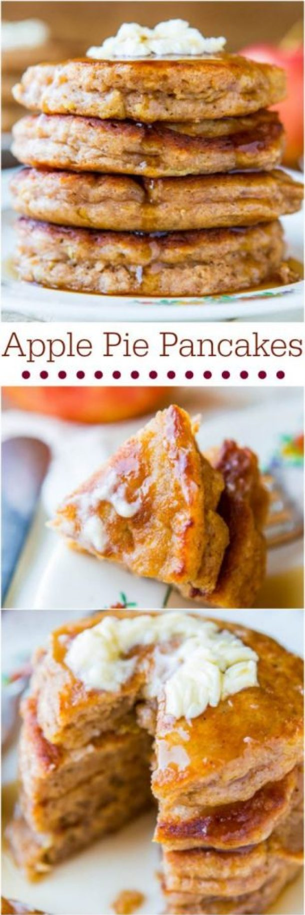 Apple Pie Pancakes with Vanilla Maple Syrup Recipe | Averie Cooks - Apple Recipes
