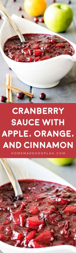 Cranberry Sauce with Apple, Orange, and Cinnamon Holiday Menu Side Recipe | Homemade Hooplah