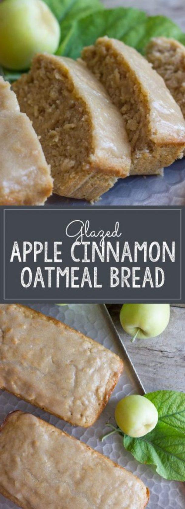 Glazed Apple Cinnamon Oatmeal Bread Recipe | Lovely Little Kitchen - Apple Recipes