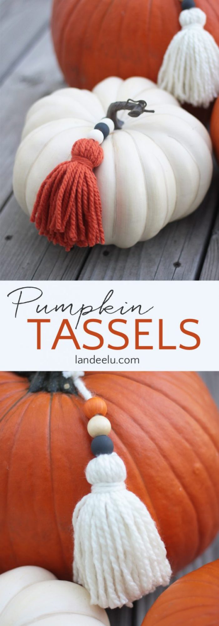 DIY Pumpkin Yarn Tassels Tutorial | Landeelu - Add a fun detail to your fall pumpkins with DIY yarn tassels!