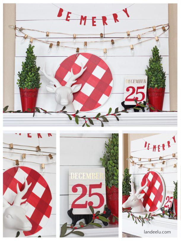 Do it Yourself Ideas for a festive Buffalo Check Christmas Mantel | Landeelu - Christmas and Winter Mantel Displays and Decorations Ideas