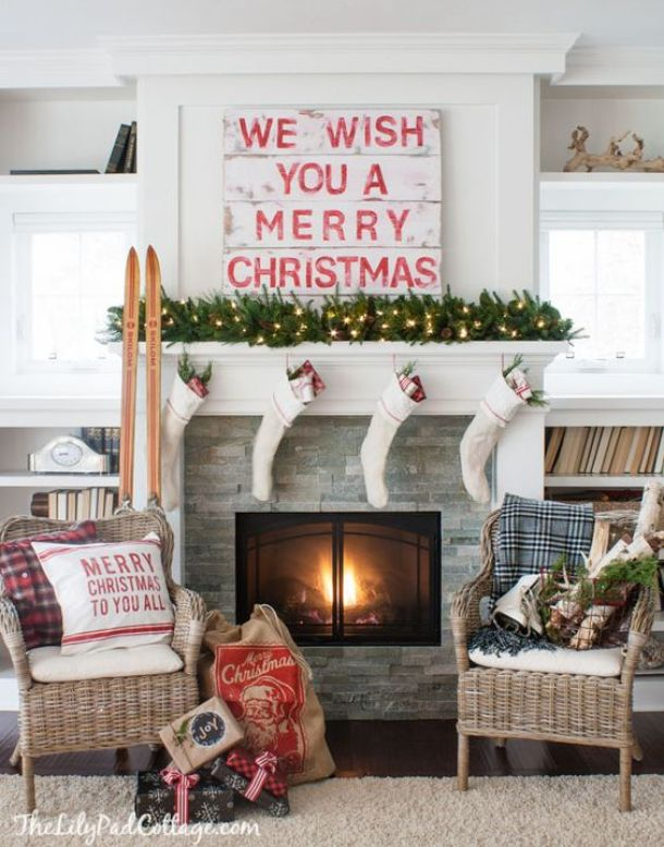 Cozy Cottage Style Classic Red and White Mantel Ideas | The Lily Pad Cottage - Christmas and Winter Mantel Displays and Decorations Ideas