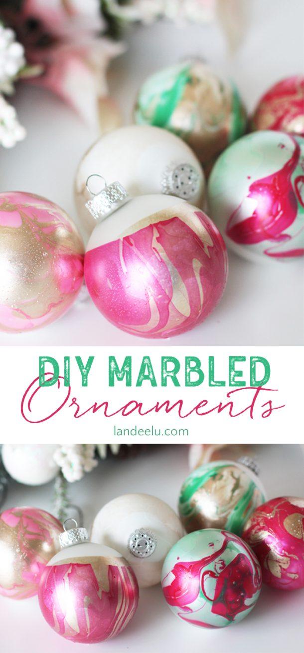 DIY Marbled Christmas Tree Ornaments Easy Step by Step Tutorial via Landeelu