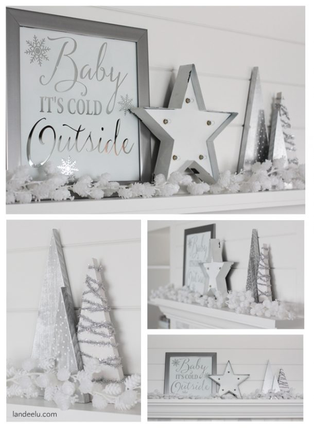DIY Mirror Art and Winter White Mantel Decorations Ideas | Landeelu - Christmas and Winter Mantel Displays and Decorations Ideas