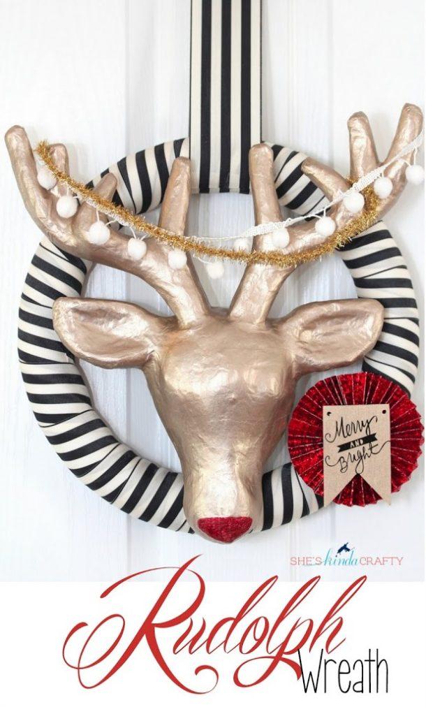 DIY Modern Rudolph Christmas Wreath Tutorial | She's Kinda Crafty