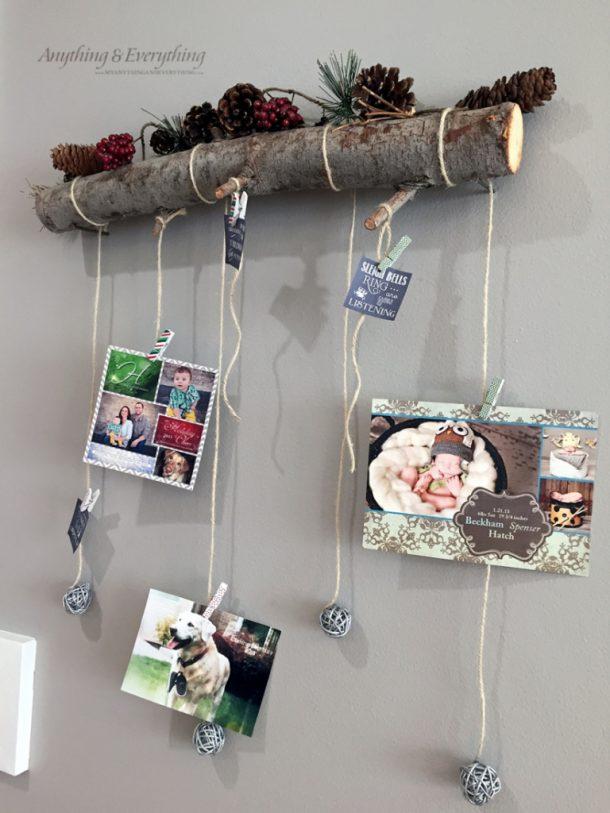 DIY Rustic Log Holiday Card Display Tutorial | Anything & Everything