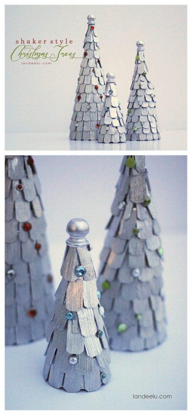 DIY Shaker Style Christmas Trees - Winter Mantel Decorations Tutorial   Landeelu