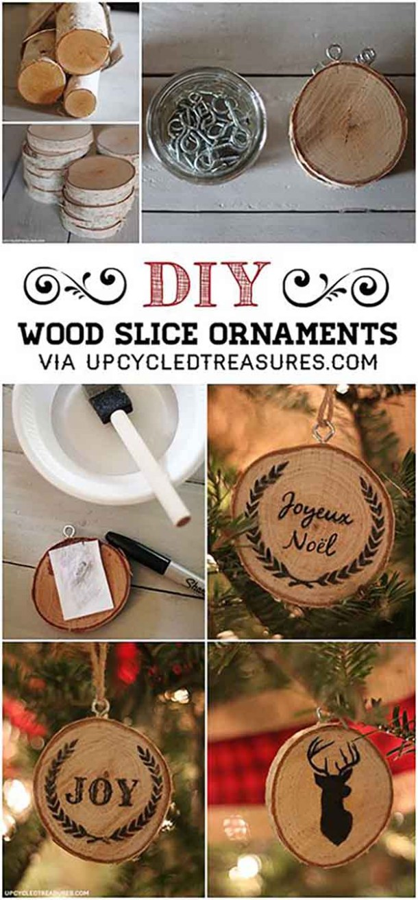 DIY Wood Slice Christmas Ornaments Tutorial | Mountain Modern Life - Easy and Cheap DIY Christmas Tree Ornaments