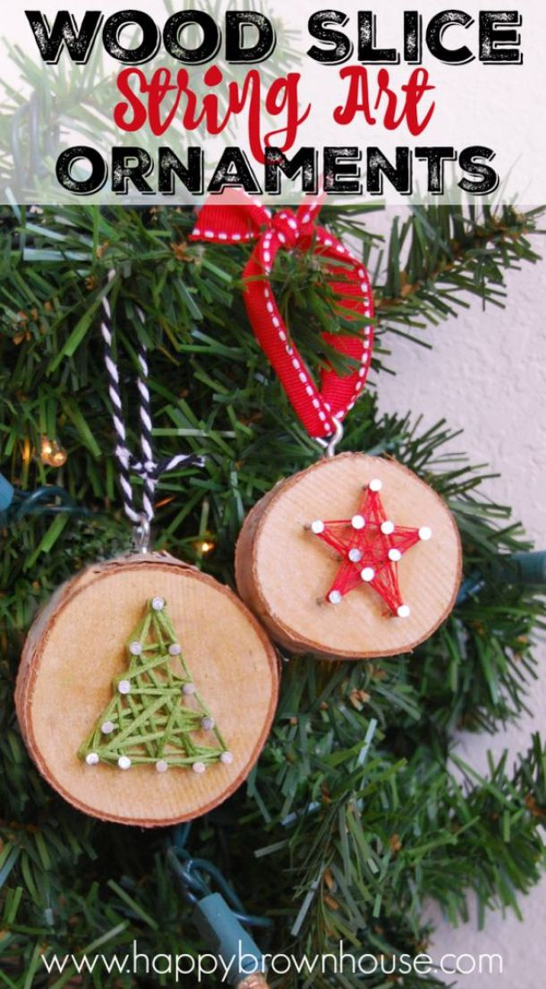 DIY Wood Slice String Art Christmas Tree Ornaments Tutorial | Happy Brown House - Easy and Cheap DIY Christmas Tree Ornaments