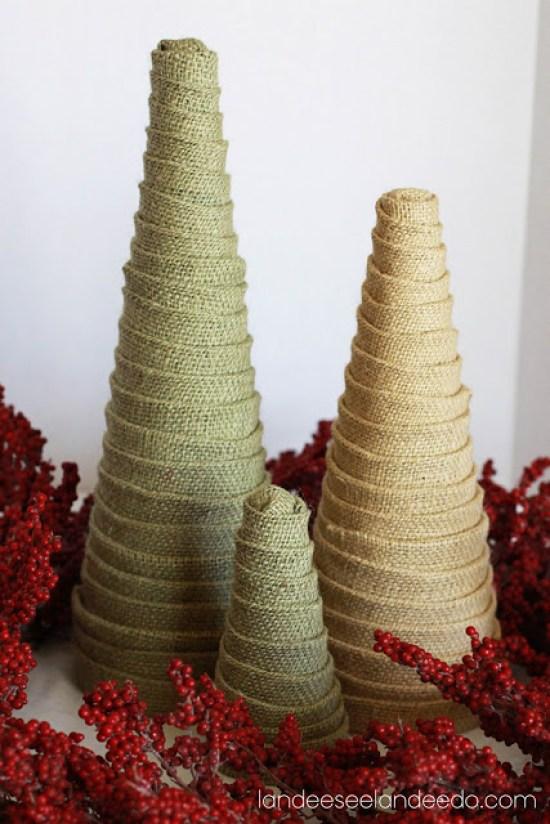 Easy DIY Burlap Trees Decorations Tutorial | Landeelu