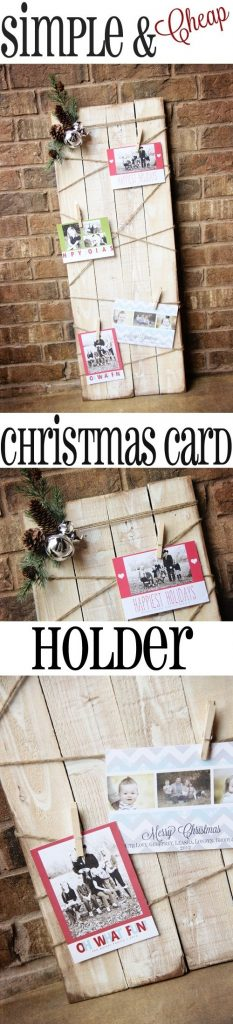This cost her under $10 to make and she had it done in under an hour! Easy DIY Pallet and Twine DIY Christmas Card Holder Tutorial | Shanty2Chic