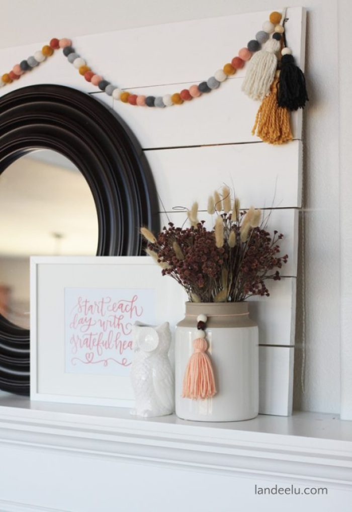 A pretty fall mantel with a fresh color palette. So pretty!