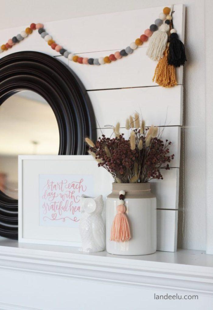 A pretty fall mantel with a fresh color palette. So pretty!