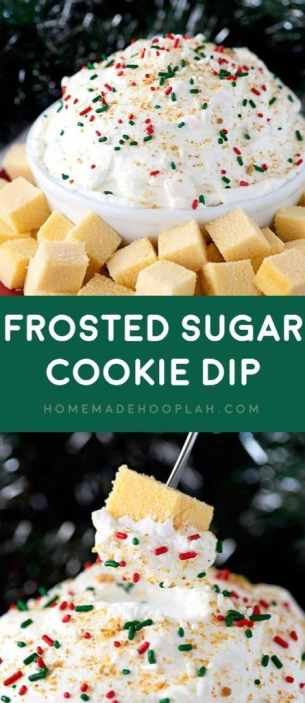 Frosted Sugar Cookie Dessert Dip Recipe | Homemade Hooplah