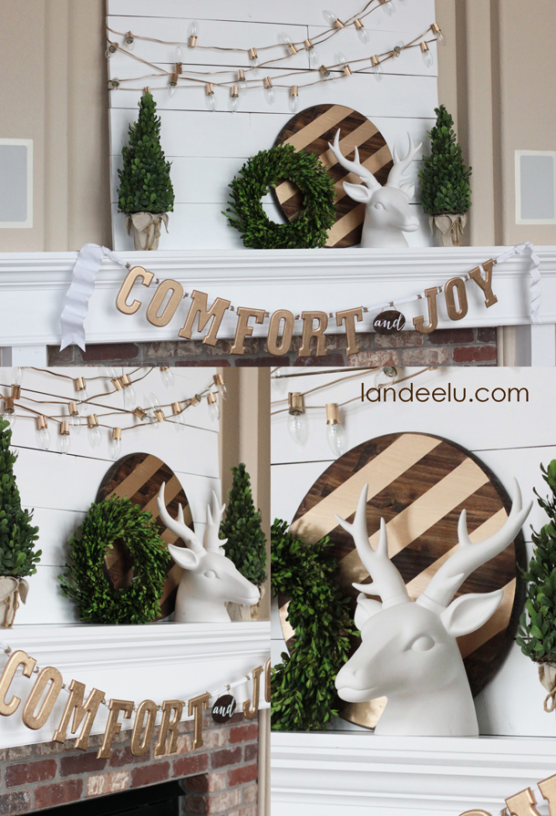 Gold, White and Warm DIY Winter and Christmas Mantel Ideas | Landeelu