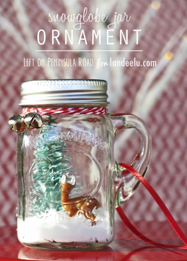 Make a Mini Mason Jar Snow Globe Ornament! DIY Christmas Tree Decoration Tutorial | Landeelu - Easy and Cheap DIY Christmas Tree Ornaments