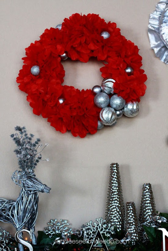 Silver, Red and Green Mantel Decor with Thumbtack Trees | Landeelu - Christmas and Winter Mantel Displays and Decorations Ideas
