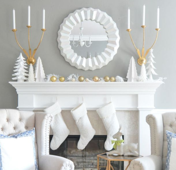 Simple Gold and White Winter Mantel Decorations Ideas | Centsational Girl - Christmas and Winter Mantel Displays and Decorations Ideas