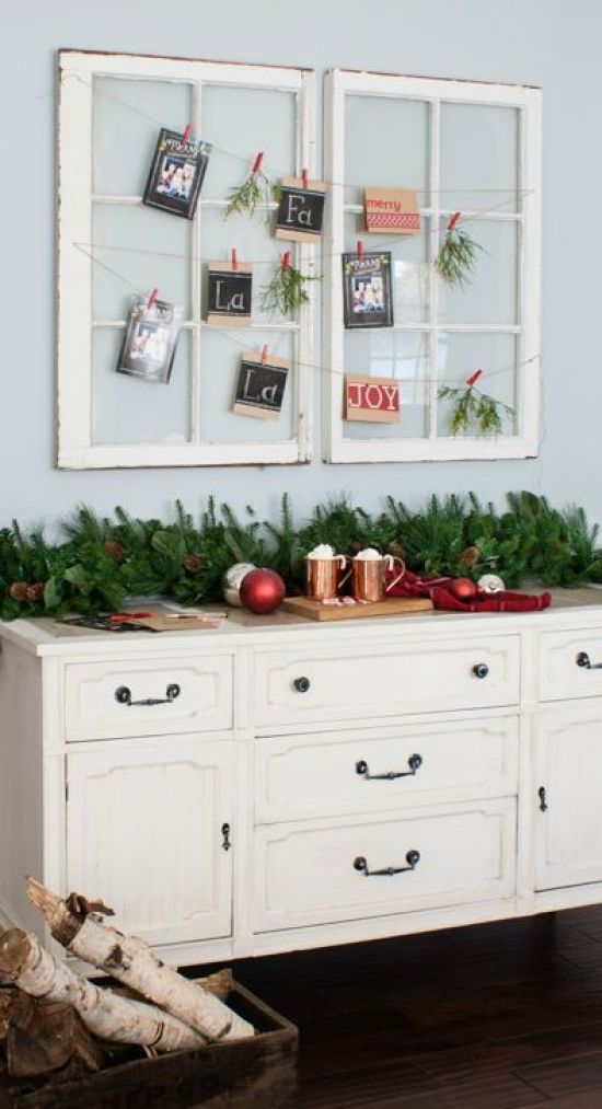 Use pretty old vintage windows to create a farmhouse chic Christmas card display! | The Lilypad Cottage