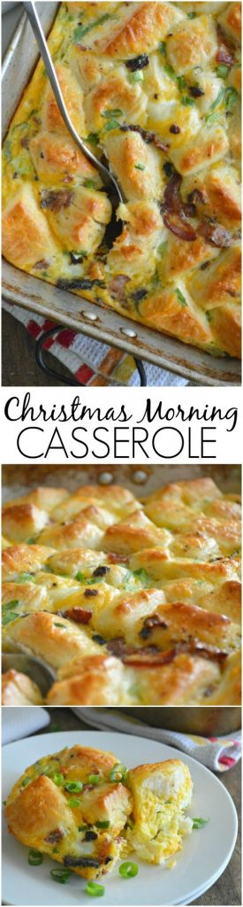 A super simple breakfast casserole made with refrigerated biscuits, eggs, cheese, and bacon to make any morning feel like Christmas! Christmas Morning Casserole Recipe | Sugar Dish Me
