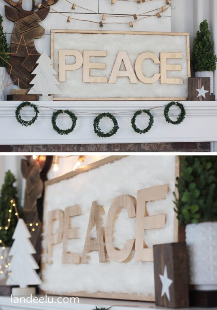 Look at this gorgeous faux fur and gold Christmas sign! I love a good Christmas craft and this looks so classy!