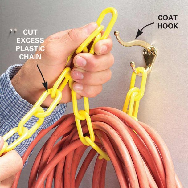 Hook and Chain Cord Hanger Idea | Family Handyman