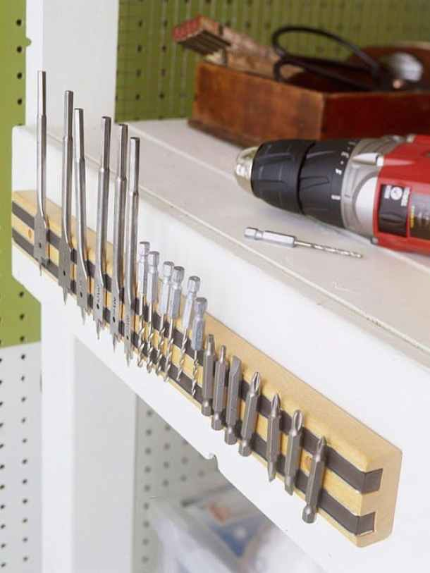 What a clever and easy solution to organize your drill bits and small metal tools - Magnetic Tool Organizer Strip | BHG
