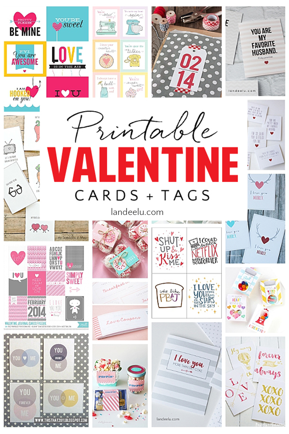 Tons of darling Valentine's Day Cards and Tags! #valentinesday #freevalentinesdayprints #valentinesdaycards #lovedaycards