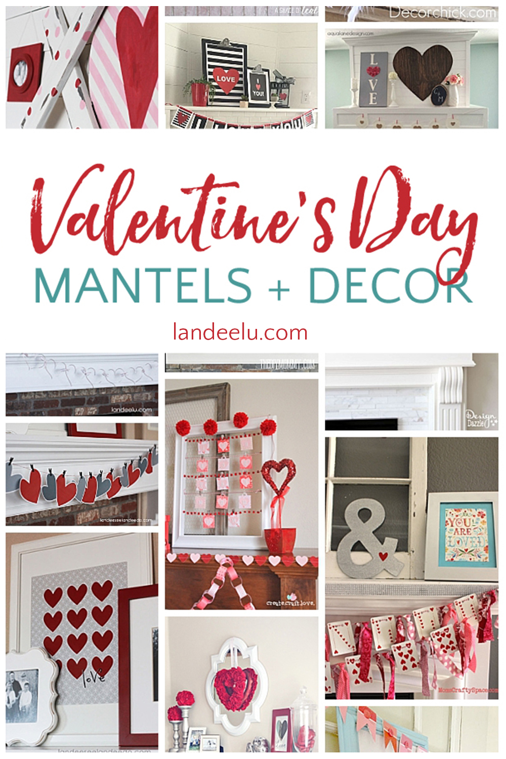 Valentine's Day Decor... put some love up on those mantels! Such cute ideas! #valentinesday #valentinesdaymantel #valentinesdaydecor #hearts