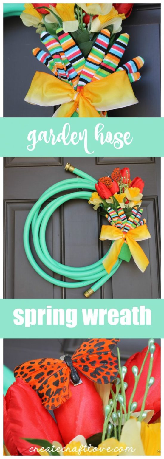 DIY Garden Hose Spring Wreath Tutorial via Create. Craft. Love.