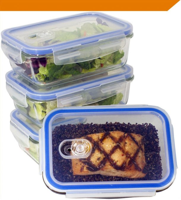 Glass Meal Prep Food Storage Container with Snap Locking Lid, Glass Meal Prep Containers BPA-Free, Airtight, Microwave, Oven, Freezer, Dishwasher Safe