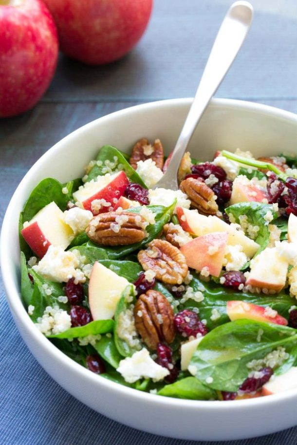 Spinach and Quinoa Salad with Apple and Pecans Healthy Dinner Recipe via Kristine's Kitchen