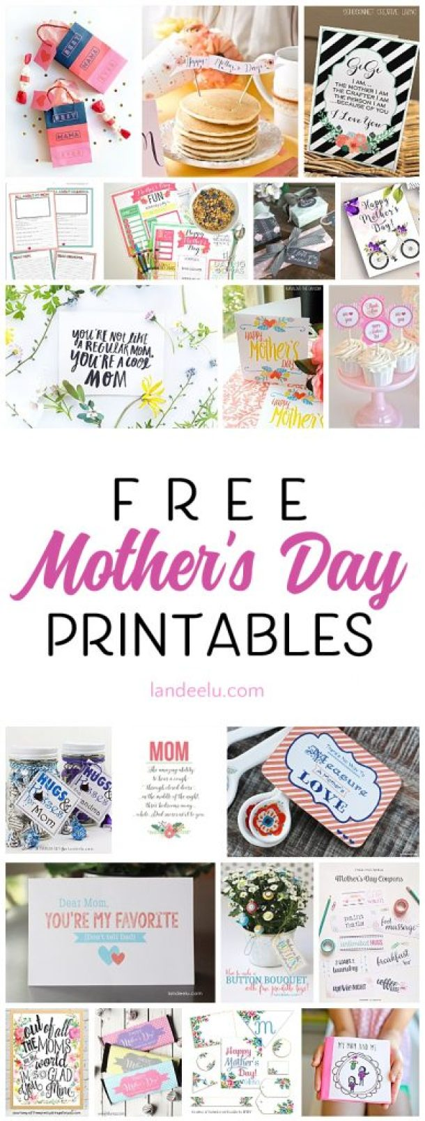 20 Free Mother's Day printables to help celebrate your mom! Tags, cards, artwork and more... all free!
