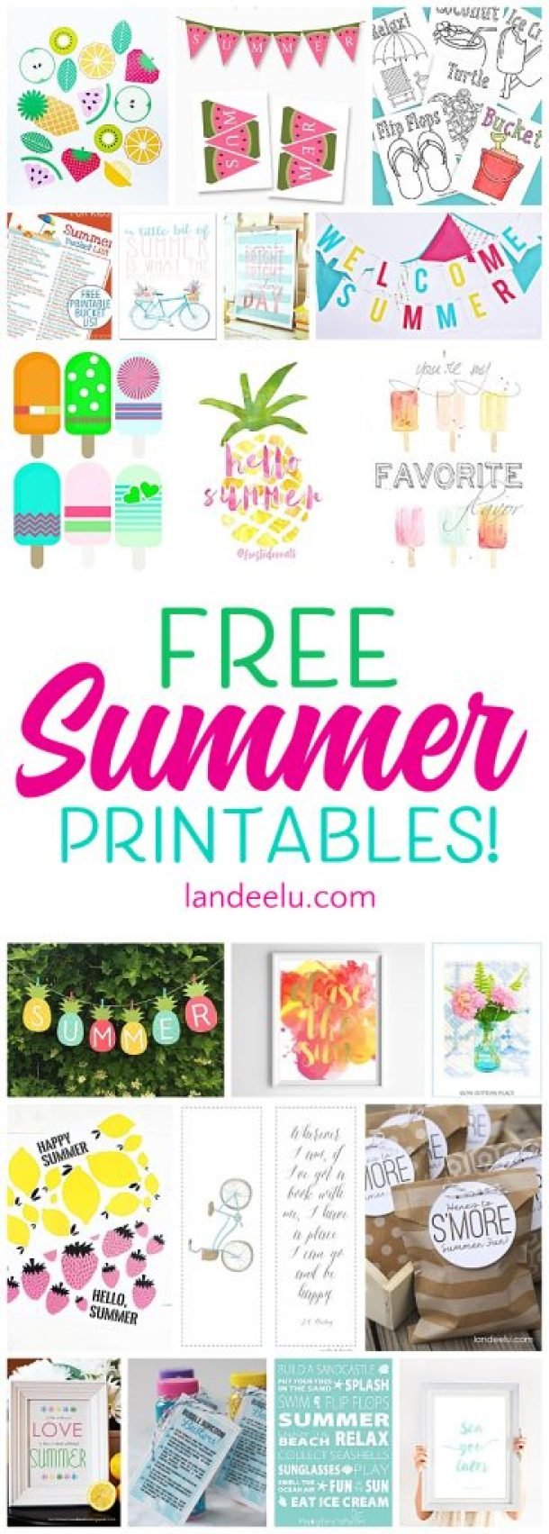 Awesome collection of free summer printables!  Games, banners, bucket lists and more.  So fun!