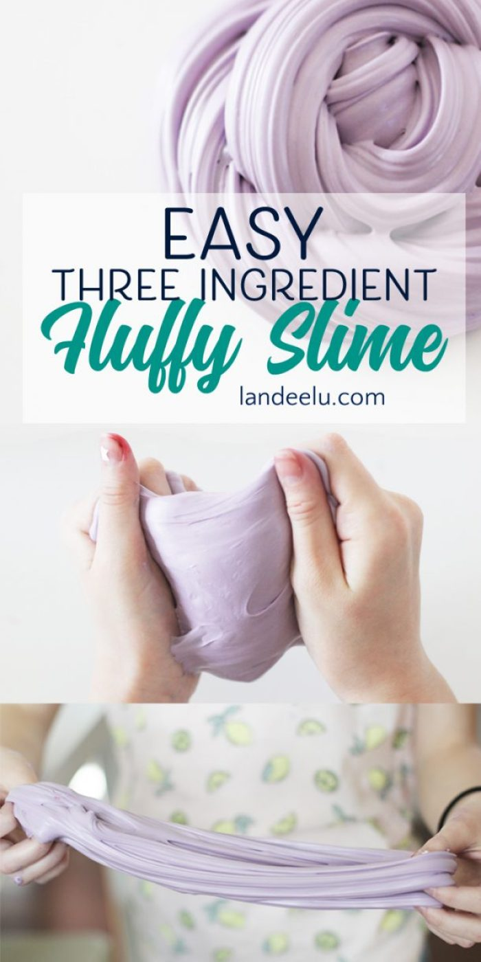 The ultimate recipe for making slime! See how to make slime easily with household products! So fun to play with! Easy Three Ingredient DIY Fluffy Slime via Landeelu
