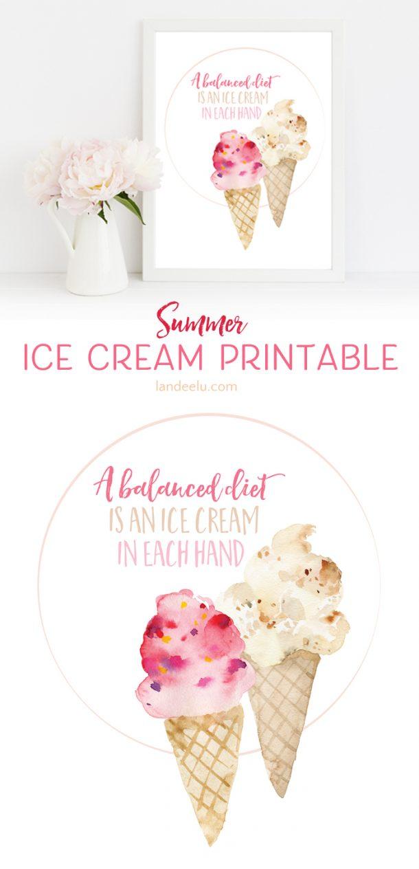 Adorable Summer Ice Cream Printable - landeelu.com