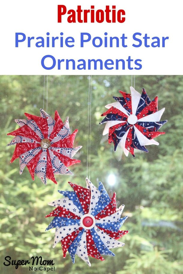 Patriotic Prairie Point Star Ornaments DIY Tutorial via Super Mom No Cape
