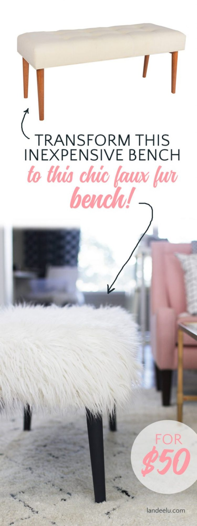 Easily transform an inexpensive upholstered bench into a chic faux fur bench with this DIY bench tutorial!