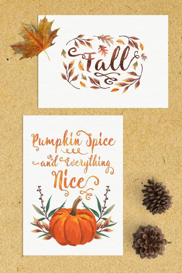 Free Fall Watercolor Printables | Teepee Girl