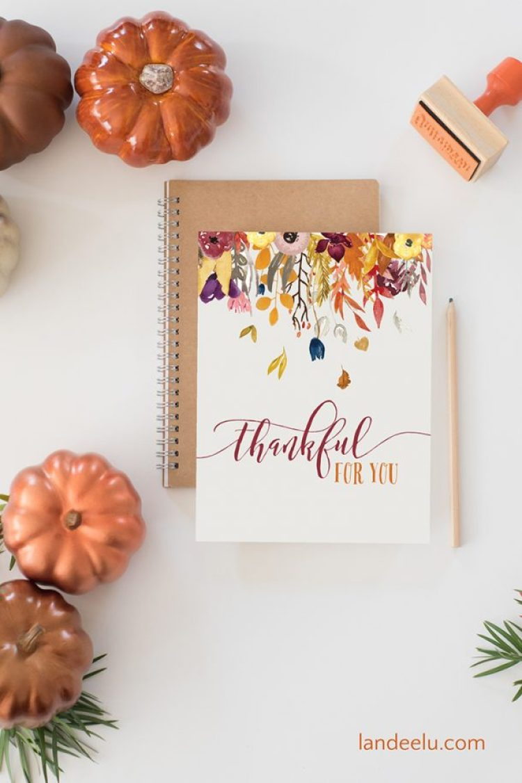 Use these images as printable fall decor or as beautiful fall thank you cards