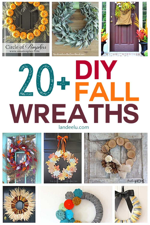 Awesome fall wreaths to make this year! I love DIY projects! #fallwreaths #diyfallcraft #fallcraft #diyfallwreaths