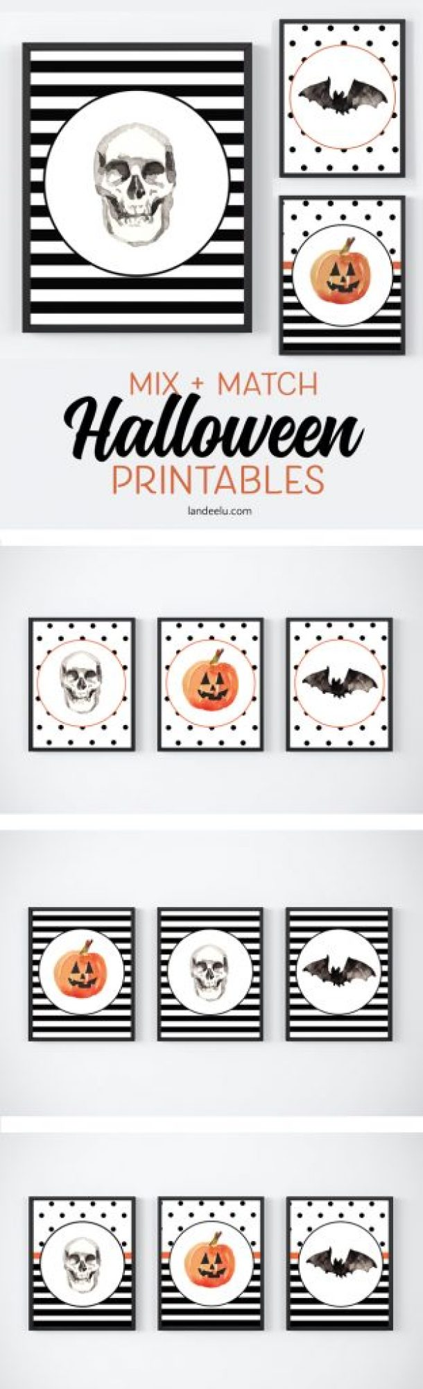 Darling mix and match Halloween printables available in many different sizes!