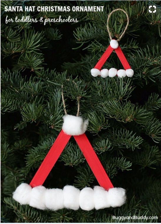 Santa Hat Homemade Christmas Ornament Using Craft Sticks | DIY Fun Idea