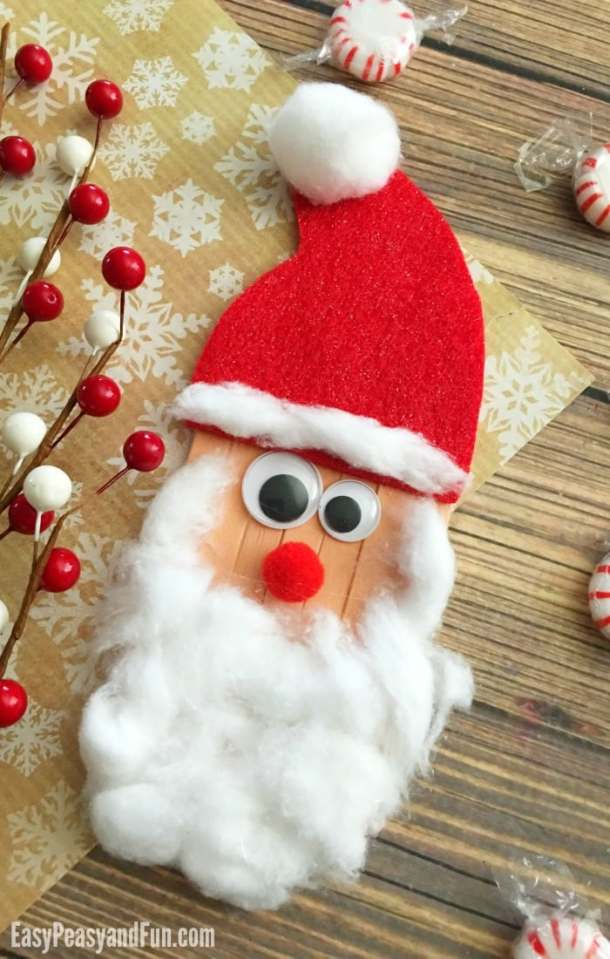 Craft Sticks Santa Craft – Christmas Crafts for Kids | Easy Peasy and Fun