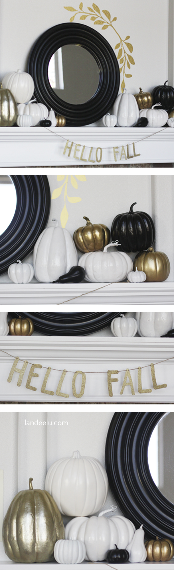 Spray paint some pumpkins and make beautiful neutral fall decorations for your mantel!