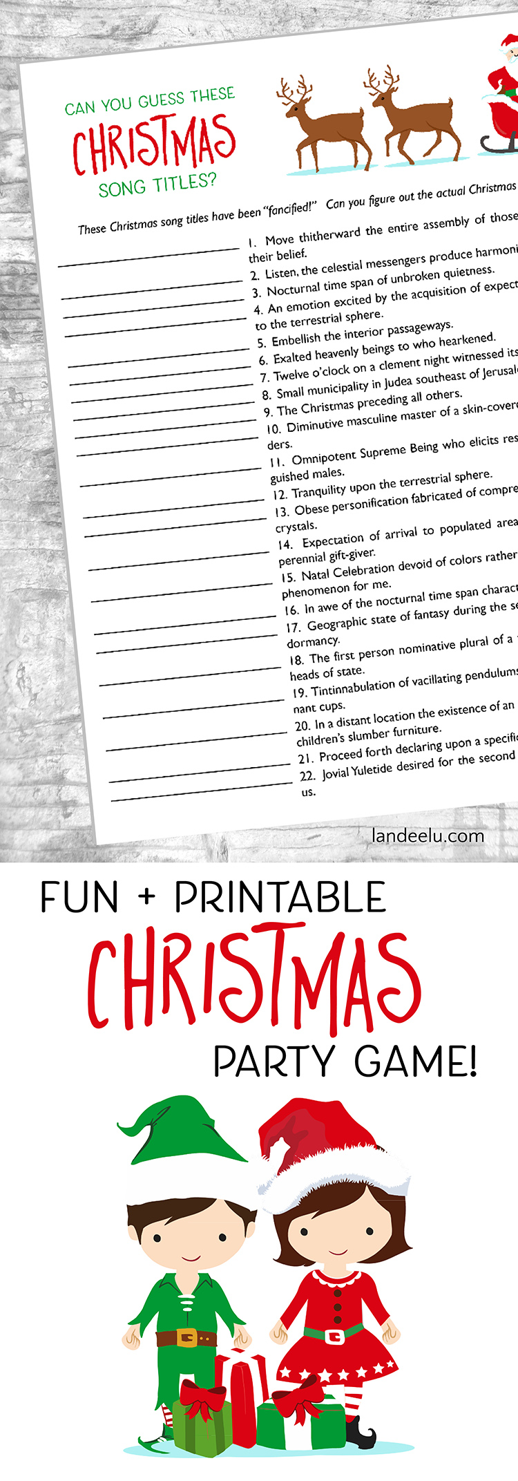 "Christmas Games Free Printables:  Guess the Christmas Songs! | Landeelu - Looking for fun Christmas games to play at your Christmas party? This is a fun ""guess these Christmas song titles"" game that anyone can play!"