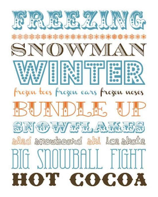 Winter Subway Art Free Printable | Funky Polkadot Giraffe